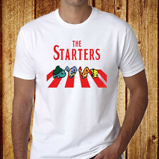 Pokemon The starter Funny *The Beatles Abbey Road Men's White T-Shirt Size S-3XL