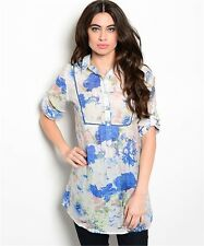 WFS White w/ Blue & Pink Floral 3/4 Sleeve Semi-Sheer Tunic Blouse Top, Sz S M L