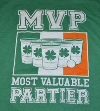 MVP Most Valuable Partier Beer Pong Irish St Patrick Day St. Paddys Green Tee