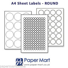 Round Labels On A4 Sheets - Labels Stickers for Laser Inkjet Printers * GLOSS *