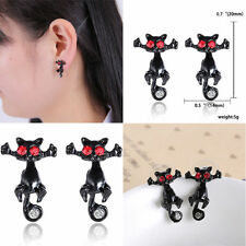 1pc Gothic Punk Black 3D Cat Kitten Pierced Cuff Crystal Ear Stud Earring