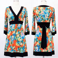 MOD Asian ORANGE Floral KIMONO SLEEVE Jersey MINI DRESS vtg Hippie BOHO S-M-L