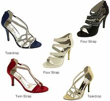 Ladies Divine Satin Diamante Wedding Bridal Strappy Stiletto High Heel Shoes