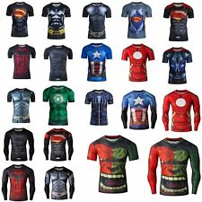 Superhero Marvel Comic Compression T-shirt Long Short Sleeve Costume Jersey Tops