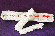 8mm Natural Cotton Braided SASH Cord Pulley Bag Handle Acrobatics Rope Bondag