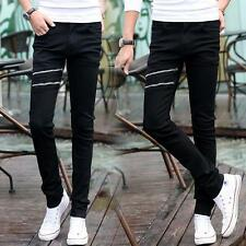 New Men Runway Straight Slim Skinny Elastic Denim Pants Jeans Black Trousers Q79