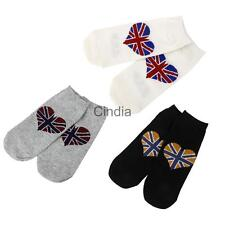 Pair Mens Womens Casual Crew Ankle Socks Union Flag Glory Sport Cotton Hosierys