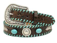 Nocona Western Womens Belt Leather Floral Laced Concho Stone Turq Brown N3497402