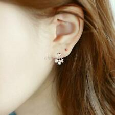 Women Lady's Crystal Rhinestone Bowknot Sweet Dangle Ear Stud Earrings Jewelry