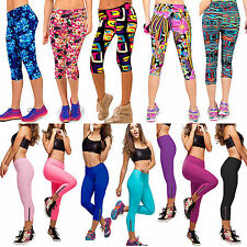 Womens YOGA Gym Sports Capri High Waist Stretch Running Tights Cropped 3/4 Pants