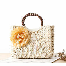 2016 Fashion Women Summer Flower Wooden Handle Straw Bag Beach Tote Bag Handbag