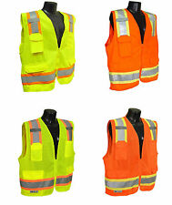 Surveyor Construction Solid Two Tones Safety Vest, ANSI/ ISEA 107-2010 Class 2