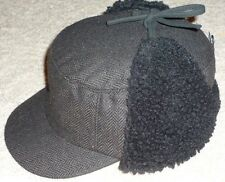 BROWN MILITARY TIE UP CAP WINTER EAR FLAT HUNTING STYLE TRAPPER HAT M/L  L/XL