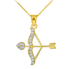 10k Gold Cupid Arrow Bow Love Heart Pendant with 0.26 ct. Diamonds