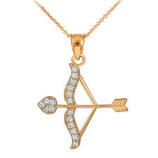 14k Rose Gold Cupid Arrow Bow Love Heart Pendant with 0.26 ct. Diamonds