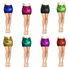 Women Mini Skirt Shiny Metallic Liquid Wet look Party Stretchy Clubwear S M L