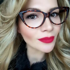 "Big Cat Eye ""EVA"" Thin Sexy Frames Clear Lens Designer Fashion Eyeglasses LUX"