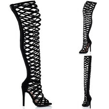 Womens High Heel Stiletto Thigh High Gladiator Sandals Shoes Sz 5-10