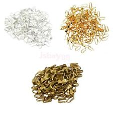 100pcs New Silver Plated Spring Clasp Connector Pinch Pendant Bails Findings 8mm