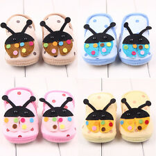 Newborn Baby Girls Boys Ladybug Anti-slip Crib Shoes Ankle Soft Sole 0-6 Month