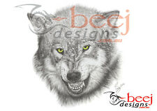 Wolf Poster Drawing realistic detailed illustration Giclee print glowing eyes
