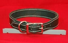 LEATHER STICHED DOG COLLAR 1.5 INCHES WIDE LARGE DOGS CUSTOM SIZE LAB SHEPHERD