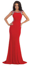 Long Cheap Prom Dress Beaded Back Fitted Formal Evening Gown