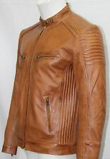 Man 1289 Tan Waxed Nappa Soft Real Leather Biker Style Retro Jackets All Size