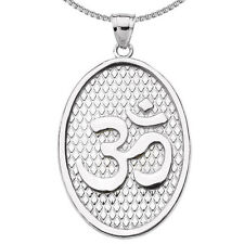 Sterling Silver Om/Ohm Oval Pendant Necklace