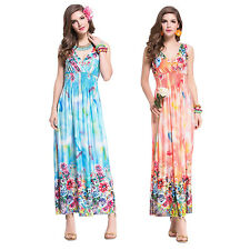 Women Sexy V Neck Summer Beach Boho Bohemian Maxi Milk Silk Floral Long Dress