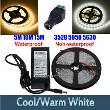 12V Car 5M 300LED 3528&5050&5630 SMD LED Strip Light Warm/Cool/Adaptor/Connector