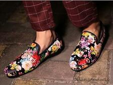 Men's Loafers Casual  floral printed pointy toe slip on dress formal Shoes