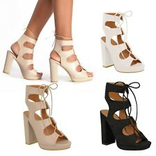 Women Cut Out  Ankle Lace Up Block High Heel Platforms Ladies Sandals shoes
