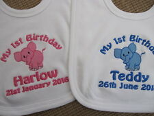 Personalised Baby Bib ~ Embroidered Baby's 1st Birthday ~ Elephant ~ Gift
