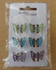 6pc Brightly coloured Metal Mini Glitter Butterfly Clamps Hair Accessories
