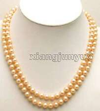 "SALE AA 6-7MM Pink Super Luster NATURAL FW Pearl 2 strings 17-18"" NNECKLACE-5423"