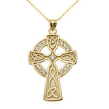 Yellow 14k Gold Diamond Trinity Knot Celtic Cross Pendant Necklace