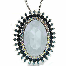 Rhodium-Plated Powder Blue Oval Cut  Pendant Necklace with SWAROVSKI® Crystals
