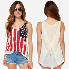 Summer USA Flag Print Camisole Women's Sleeveless Tank Top Vest Casual Shirt Top