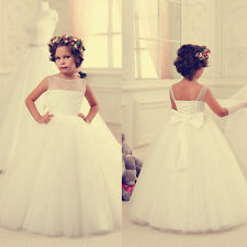 Fluffy Wedding Formal Flower Girls Dress Pageant fluffy dress Ivory new skirt G