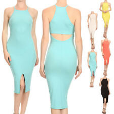 Sexy Solid Cocktail Sleeveless Stretch Bodycon Ribbed Knit Racerback Midi Dress