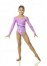 Girls Long Sleeve Purple Pink Gymnastics Dance Leotard Mondor