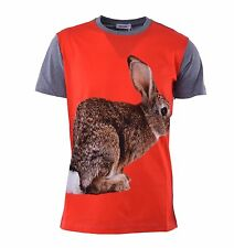 MOSCHINO Cotton T-Shirt with Rabbit Print and Logo Red Grey 04436
