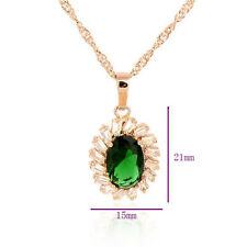 Womens Rose 18K gold filled Green&Clear CZ Crystal Pendant Fit Chain Necklace