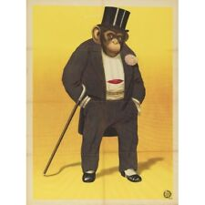 Fancy Monkey Chimpanzee With Top Hat Circus Ad Vintage-Style Poster