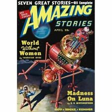 Vintage-Style Sci Fi Poster Amazing Stories Madness on Luna Cover Art
