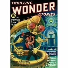 Vintage-Style Sci Fi Poster Thrilling Wonder Stories Robot Space Alien Cover Art