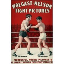 Wolgast Nelson Fight Pictures Movies Ad 1914 Boxing Vintage-Style Poster