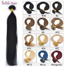 7A 50S Glue Nail U Tip Pre-Bonded Keratin Remy Human Hair Extensions 16-24Inch