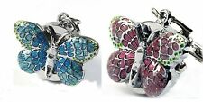 Blue/Pink Butterfly Key Ring Womens Girls Children Pocket Watches Quartz Gift